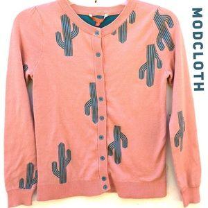 ModCloth Charm School Cactus Button Up Cardigan